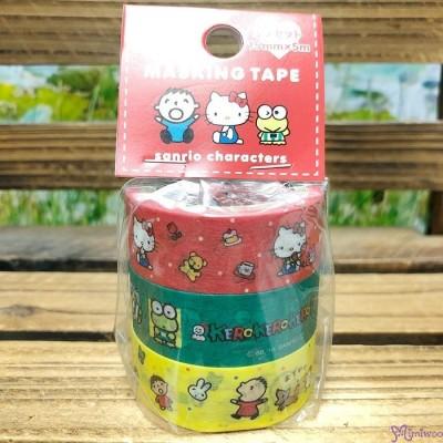Sanrio Hello Kitty Keroppi Minna No Tabo Masking Tape 15mm x 5 meter (3 Rolls) 486427