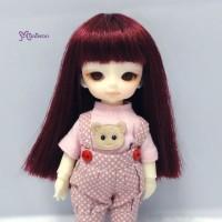"WM21-02-WR Hujoo Baby Bjd 4-5"" Heat Resistant Long Wig Wine"
