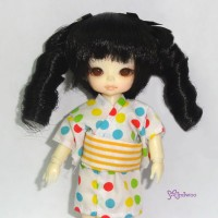 WM21-2TS-BK Hujoo Baby Suve Obitsu 21cm Curl Braids Wig Black