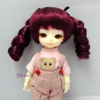 "WM21-2TS-WR Hujoo Baby 4-5"" Heat Resistant Curl Braids Wig Wine"