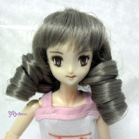 PW27-616-DGY 27cm Obitsu 1/6 Bjd Short Curl Tails Wig Dark Grey