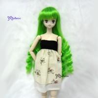 PW27-SL-GR Obitsu 1/6 Body Dollfie Long Wavy Braids Wig Green