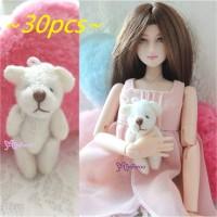 4cm Mini Plush Teddy Bear White 30pcs Set WAB001S-WH
