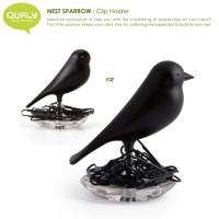 QL10069-BLACK QUALY Living Styles Nest Sparrow Bird Clip Holder