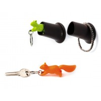 QL10146-GREEN QUALY Houseware Squirrel Hook Key Ring + Holder