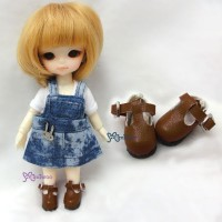SBB002LBN Hujoo Baby Obitsu 11cm Body Maryjane Doll Shoes Brown