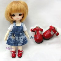 SBB002RED Hujoo Baby Obitsu 11cm Body Maryjane Doll Shoes Red
