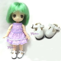 SBB002WHE Hujoo Baby Obitsu 11cm Body Maryjane Doll Shoes White