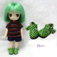 SBB003GRN Hujoo Baby Obitsu 11cm Body Maryjane Dots Shoes Green