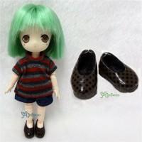 SBB004BRN Hujoo Baby Obitsu 11cm Doll Step-in Dots Shoes Brown