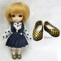 SBB004GLD Hujoo Baby Obitsu 11cm Doll Step-in Dots Shoes Gold