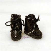 SBB005BRN Hujoo Baby Obitsu 11cm Body Shoes Dots Boots Brown