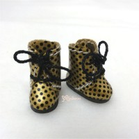 SBB005GLD Hujoo Baby Obitsu Middie Blythe Shoes Dots Boots Gold