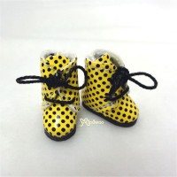 SBB005YEW Hujoo Baby Obitsu 11cm Body Shoes Dots Boots Yellow
