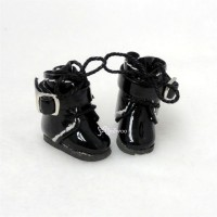 SBB006BLK Hujoo Baby Obitsu 11cm Body Shoes Buckle Boots Black
