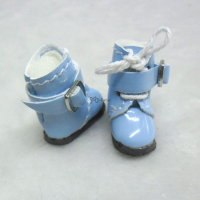 Middie B 2.2cm Doll Shoes Buckle Boots Blue SBB006BLE
