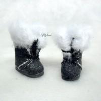 SBB011BLK Middie Blythe Hujoo Baby Shoes Plushy Boots Black