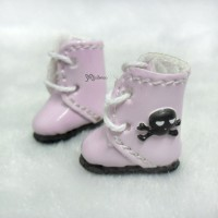 SBB013PNK Middie Blythe Hujoo Baby Shoes 3D Skull Boots Pink