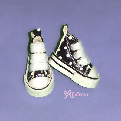 SHP070BLK Blythe Pullip Denim MICRO Shoes Dot Sneaker Black