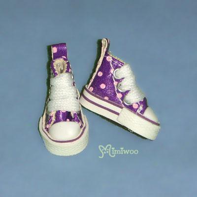 SHP070PUE Blythe Pullip Denim MICRO Shoes Dot Sneaker Purple