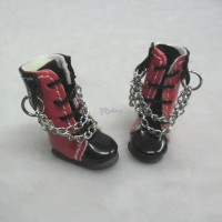 Blythe Pullip Momoko Shoes PU Leather Boots Red SHP085RBK