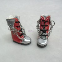 Blythe Pullip Momoko Shoes PU Leather Boots Silver Red SHP085RSL