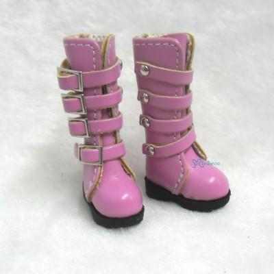 Blythe Pullip Momoko Obitsu Shoes Buckle Boots Pink SHP129PNK