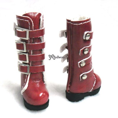 SHP129RED Blythe Pullip Momoko Obitsu Shoes Buckle Boots Red