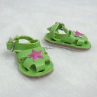 SHP163GRN Blythe Momoko Obitsu Doll Shoes 3D Star Sandal Green