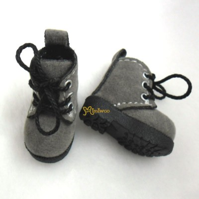 1/6 Bjd Neo B Doll Shoes Velvet Boots Grey SHP187GRY