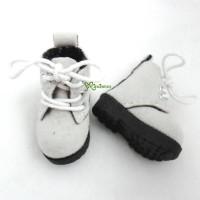SHP187WHE Blythe Pullip Momoko Obitsu Shoes Velvet Boots Grey White