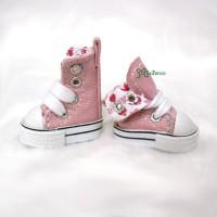 "SHP188PNK 12"" Blythe Pullip Denim MICRO Shoes Folded Boots Pink"