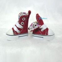 Blythe Pullip Denim MICRO Shoes Folded Boots Red SHP188RED