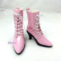 SHS133PNK Super Dollfie SD Shoes PU Leather High Heel Boots Pink