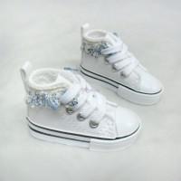 Super Dollfie SD 1/3 bjd Doll Flower Trim Shoes White SHS142WHE