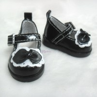 Yo-SD bjd Doll Leeke PU Leather Buckle Bow Shoes Black SHU046BLK