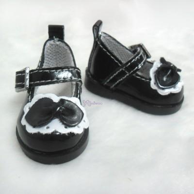 Yo-SD bjd Doll Leeke PU Leather Buckle Bow Shoes Black SHU046BLK