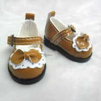 Yo-SD bjd Doll Leeke PU Leather Buckle Bow Shoes Brown SHU046BRN
