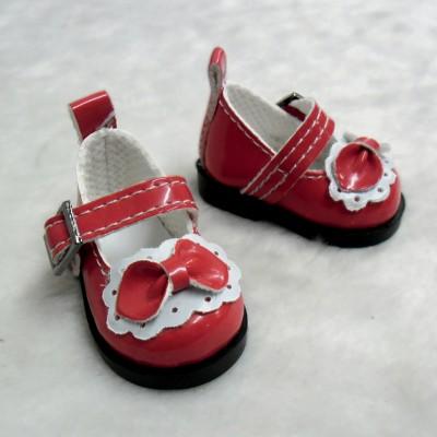 Yo-SD bjd Doll Leeke PU Leather Buckle Bow Shoes Red SHU046RED