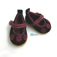 SHU049BLK Yo-SD bjd Doll Leeke Velvet Flower Shoes Black