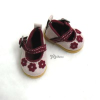 SHU049PNK Yo-SD bjd Doll Leeke Velvet Flower Shoes Pink
