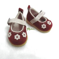 SHU049RED Yo-SD bjd Doll Leeke Velvet Flower Shoes Red