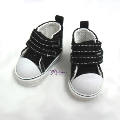 SHU051BLK Yo-SD bjd Leeke Doll Shoes 2 Strap Denim Boots Black