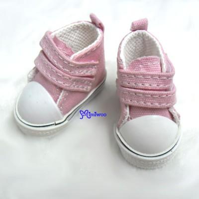SHU051PNK Yo-SD bjd Leeke Doll Shoes 2 Strap Denim Boots Pink
