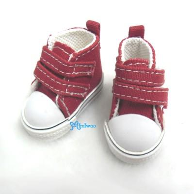 SHU051RED Yo-SD bjd Leeke Doll Shoes 2 Strap Denim Boots Red