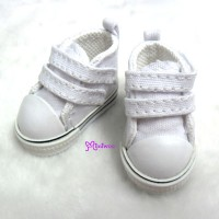 SHU051WHE Yo-SD bjd Leeke Doll Shoes 2 Strap Denim Boots White