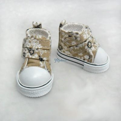 Yo-SD bjd Leeke Doll Shoes 2 Strap Flower Boots Khaki SHU051YKK