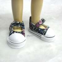 Yo-SD bjd Leeke Doll Maryjane Denim Shoes Black Flower SHU052FBK