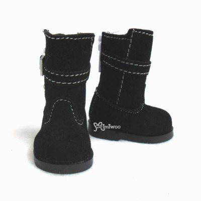 Yo-SD Bjd Dollfie Shoes Buckle Velvet Boots Black SHU053BLK
