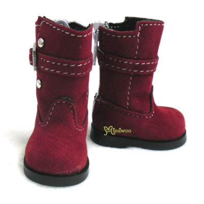 SHU053RED Yo-SD Bjd MCC Shoes Buckle Velvet Boots Red